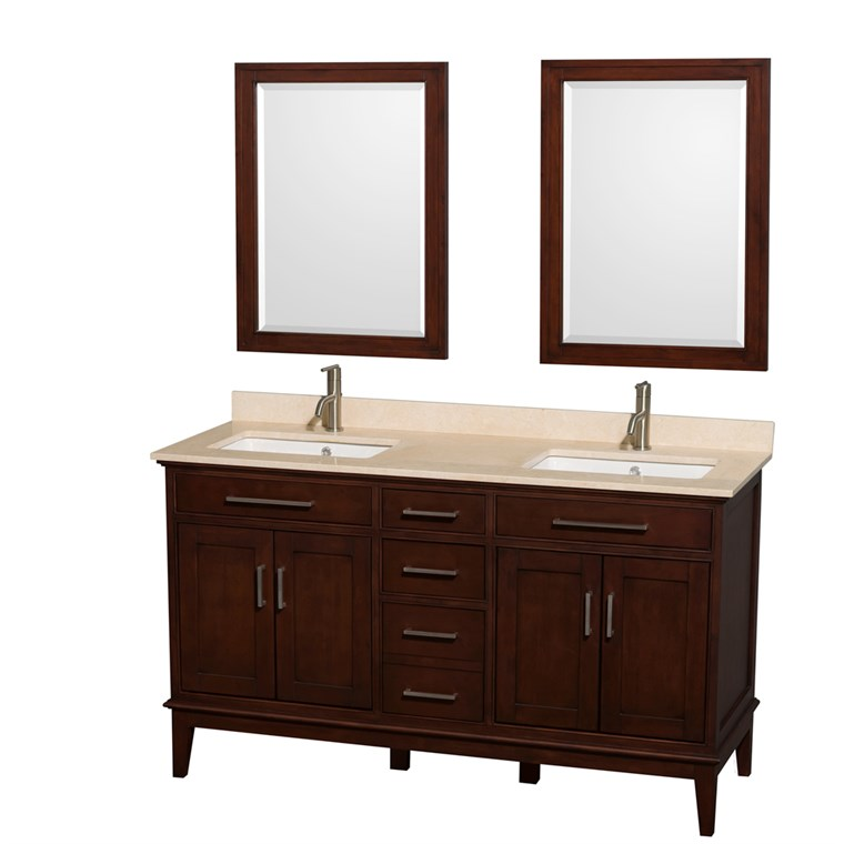 "Hatton 60"" Double Bathroom Vanity by Wyndham Collection - Dark Chestnut WC-1616-60-DBL-VAN-CDK"