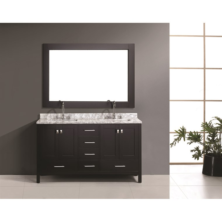 "Design Element London 60"" Double Vanity Set - Espresso DEC082A"