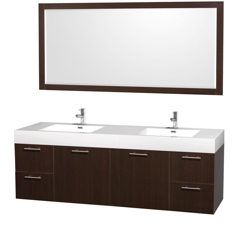 "Amare 72"" Wall-Mounted Double Bathroom Vanity Set with Integrated Sinks by Wyndham Collection - Espressonohtin Sale $1499.00 SKU: WC-R4100-72-VAN-ESP-DBL- :"