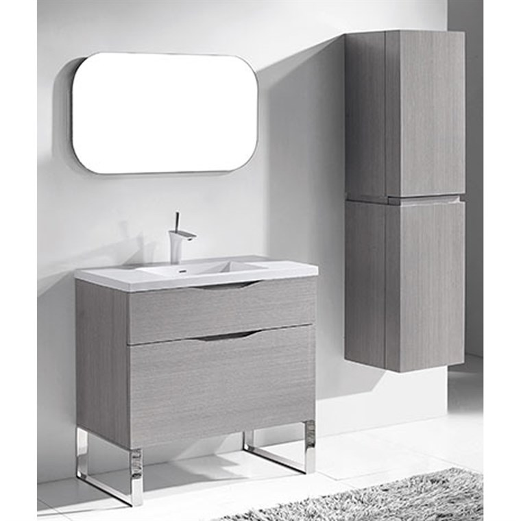 "Madeli Milano 36"" Bathroom Vanity for Integrated Basin - Ash Grey B200-36-021-AG"