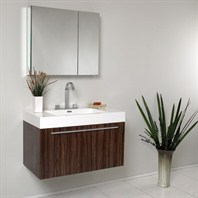 Fresca Vista Walnut Modern Bathroom Vanity with Medicine Cabinet FVN8090GW