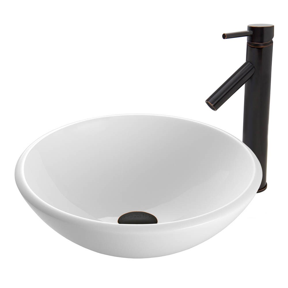 VIGO White Phoenix Stone Vessel Sink and Dior Faucet Set in Antique Rubbed Bronze Finishnohtin Sale $225.90 SKU: VGT427 :