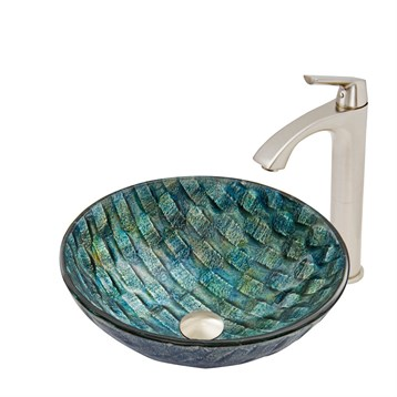 Vigo Oceania Glass Vessel Sink and Linus Faucet Set in Brushed Nickel Finish VGT549 by Vigo Industries