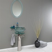 Fresca Ovale Modern Glass Bathroom Vanity with Frosted Edge Mirror FVN1019