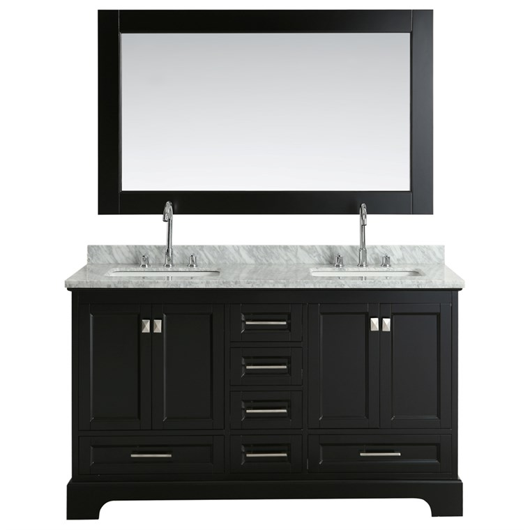 "Design Element Omega 61"" Double Sink Vanity - Espresso DEC068A-E"