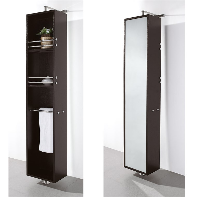 Claire Rotating Floor Cabinet with Mirror by Wyndham Collection - Espresso WC-B802-ESP