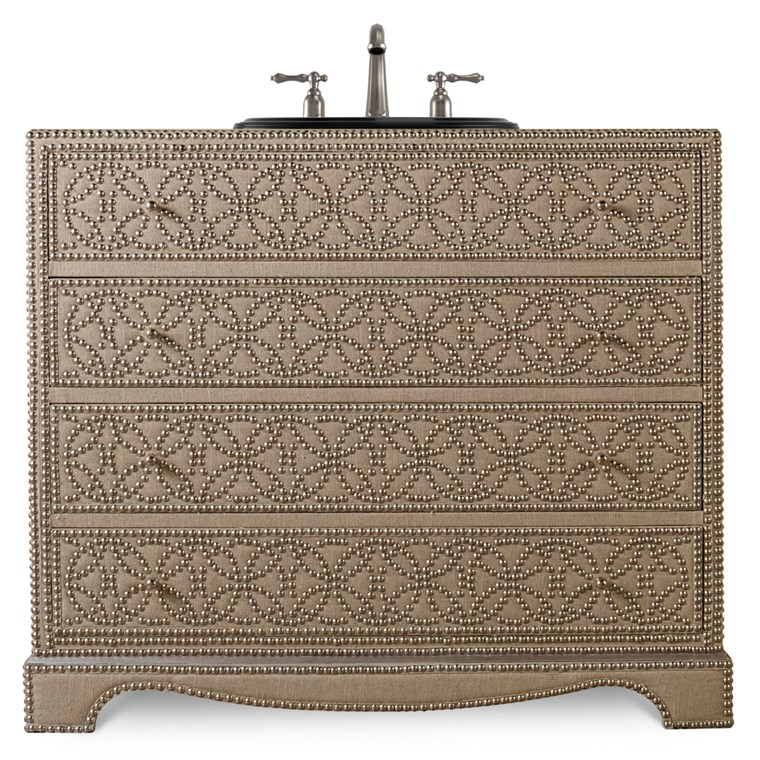 "Cole & Co. 42"" Designer Series Blaire Sink Chest - Linen Creme Fabric 11.22.275542.70"