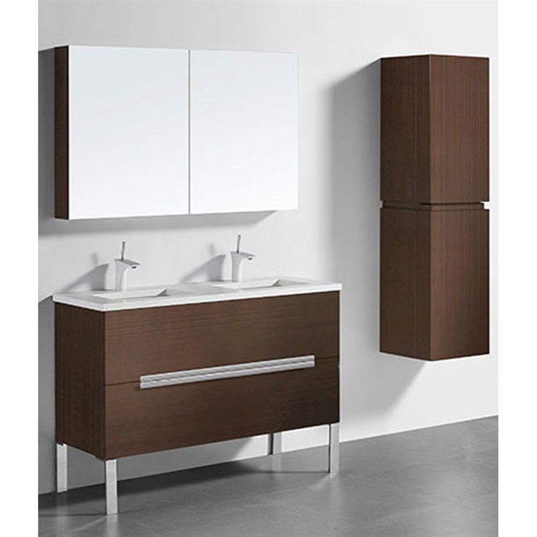 "Madeli Soho 48"" Double Bathroom Vanity for Quartzstone Top - Walnut B400-48D-001-WA-QUARTZ"
