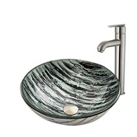 VIGO Rising Moon Glass Vessel Sink and Seville Faucet Set in Brushed Nickel Finish VGT831