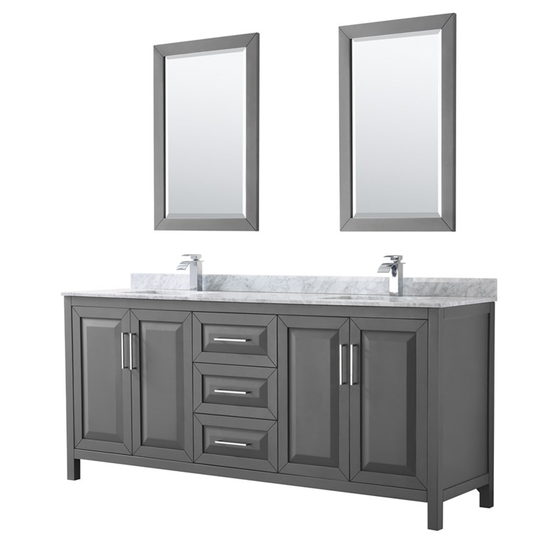 "Daria 80"" Double Bathroom Vanity by Wyndham Collection - Dark Gray WC-2525-80-DBL-VAN-DKG"