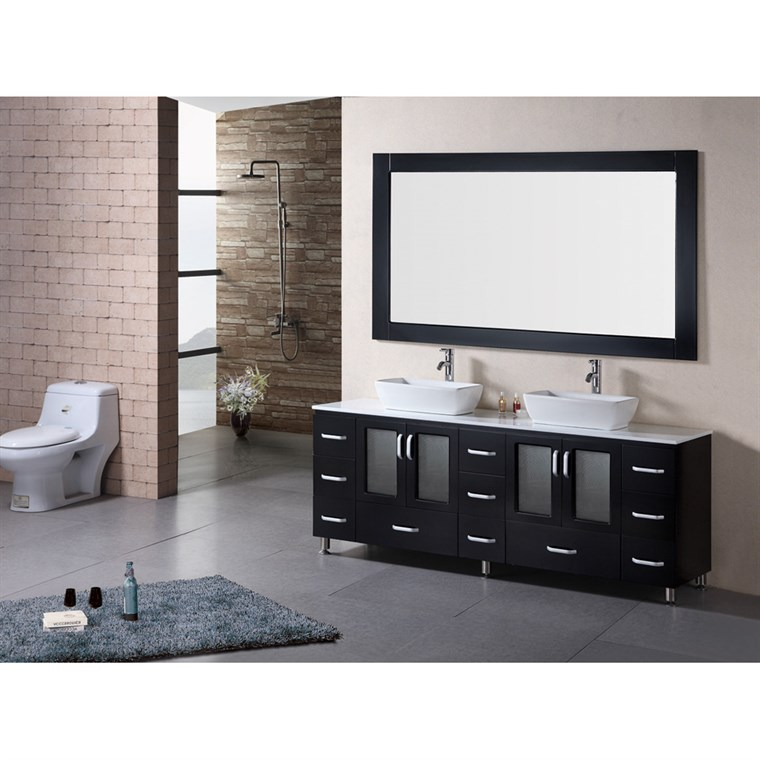 "Design Element Stanton 72"" Double Sink Bathroom Vanity Set w/ Vessel Sinks - Espresso B72-VS"