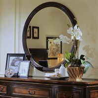 Cole & Co. Hudson Round Mirror - Black Rub-Through Finish