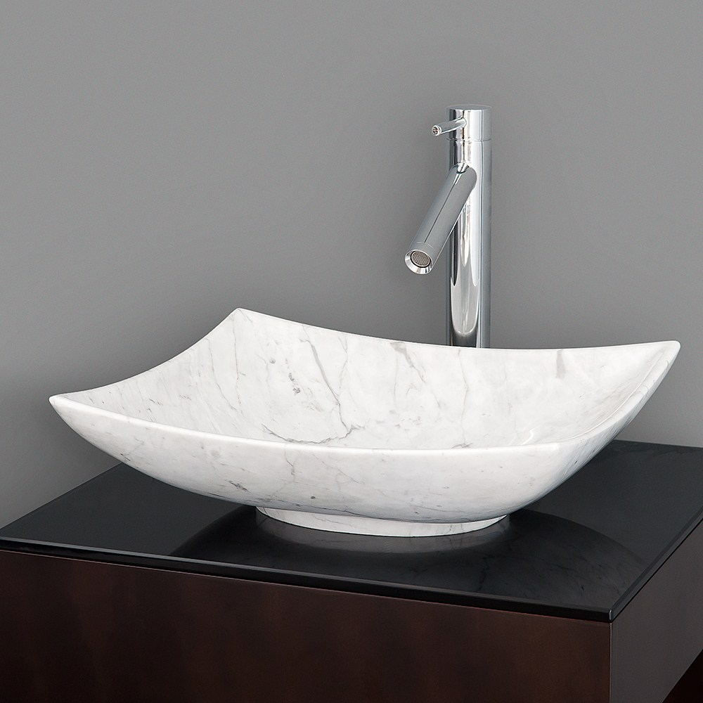 Arista Vessel Sink by Wyndham Collection - White Carrera Marblenohtin Sale $499.00 SKU: WC-GS006 :