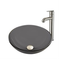 VIGO Sheer Black Frost Glass Vessel Sink and Seville Faucet Set VGT868-