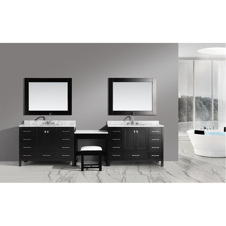 "Design Element London Two 48"" Vanities with Make-up Table - Espresso DEC082CX2_MUT"