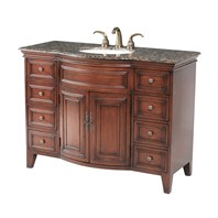 "Stufurhome 48"" Yorktown Single Sink Vanity with Baltic Brown Granite Top - Dark Cherry GM-5115-48-BB"