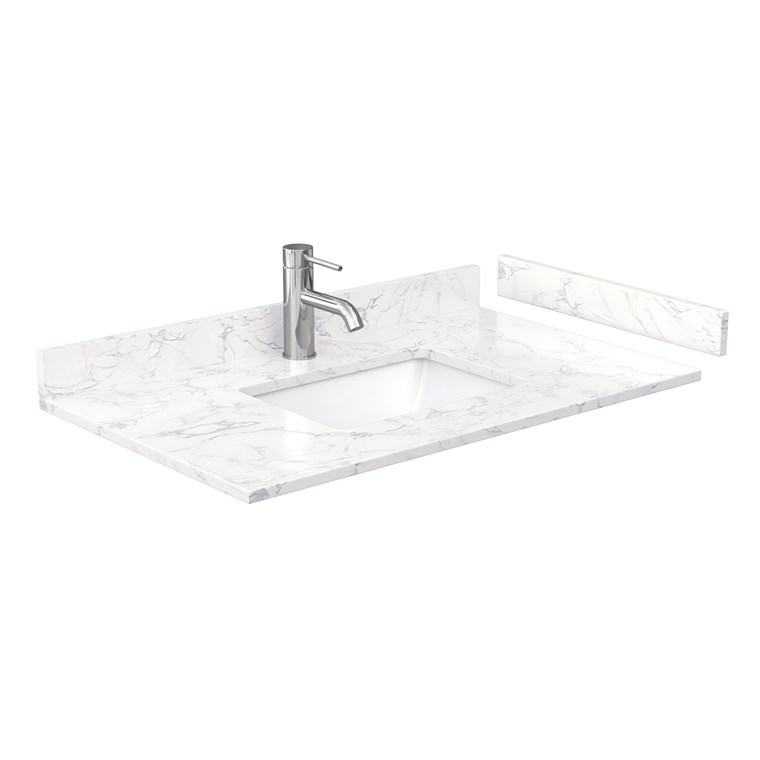 "36"" Single Countertop - Dark-Vein Carrara Cultured Marble with Undermount Square Sink - Include Backsplash and Sidesplash WC-VCA-36-SGL-TOP-UMSQ-CC1"