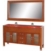 "Daytona 63"" Double Bathroom Vanity Set with Cherry Red Glass Countertop - Cherry w/ Drawers"
