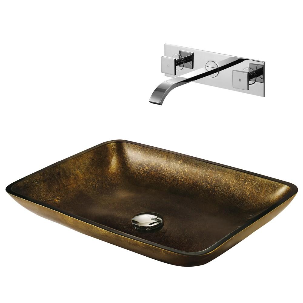 VIGO Rectangular Copper Glass Vessel Sink and Wall Mount Faucet Setnohtin Sale $219.90 SKU: VGT112 :
