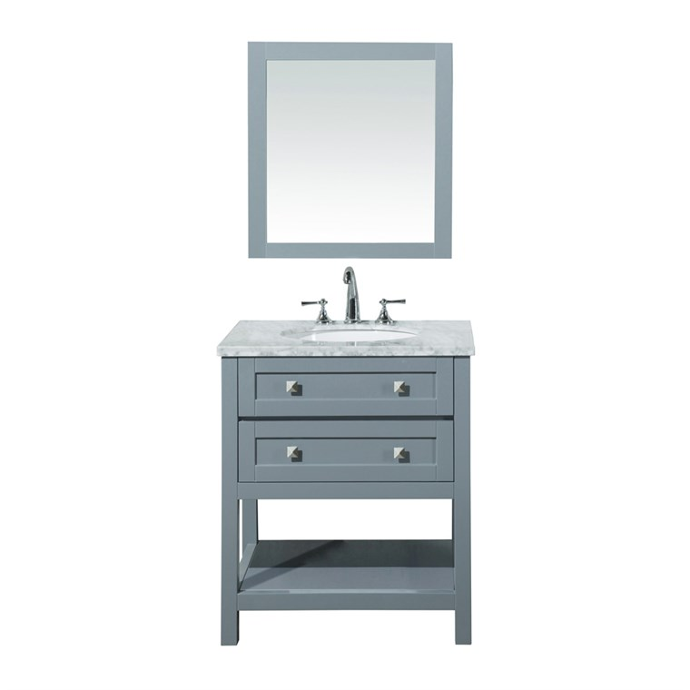 "Stufurhome Marla 30"" Single Sink Bathroom Vanity with Mirror - Grey HD-6868G-30-CR"