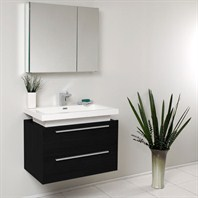 Fresca Medio Black Modern Bathroom Vanity with Medicine Cabinet FVN8080BW