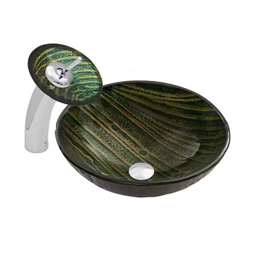 Vigo Green Asteroid Glass Vessel Sink and Waterfall Faucet Set VGT042 by Vigo Industries