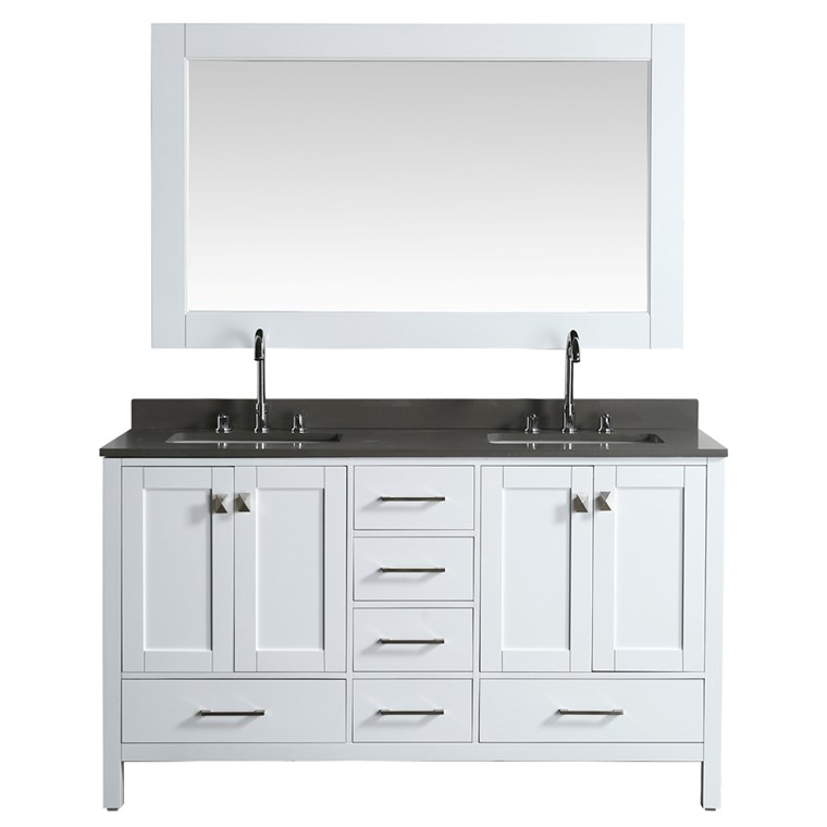 "Design Element London Hyde 61"" Double Sink Vanity - White DEC082A-W-GT"