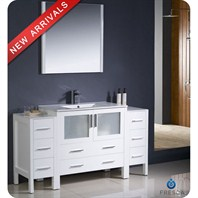 "Fresca Torino 60"" White Modern Bathroom Vanity with 2 Side Cabinets & Integrated Sink FVN62-123612WH-UNS"
