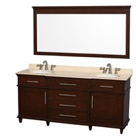 "Berkeley 72"" Double Bathroom Vanity by Wyndham Collection - Dark Chestnut WC-1717-72-DBL-CDK"