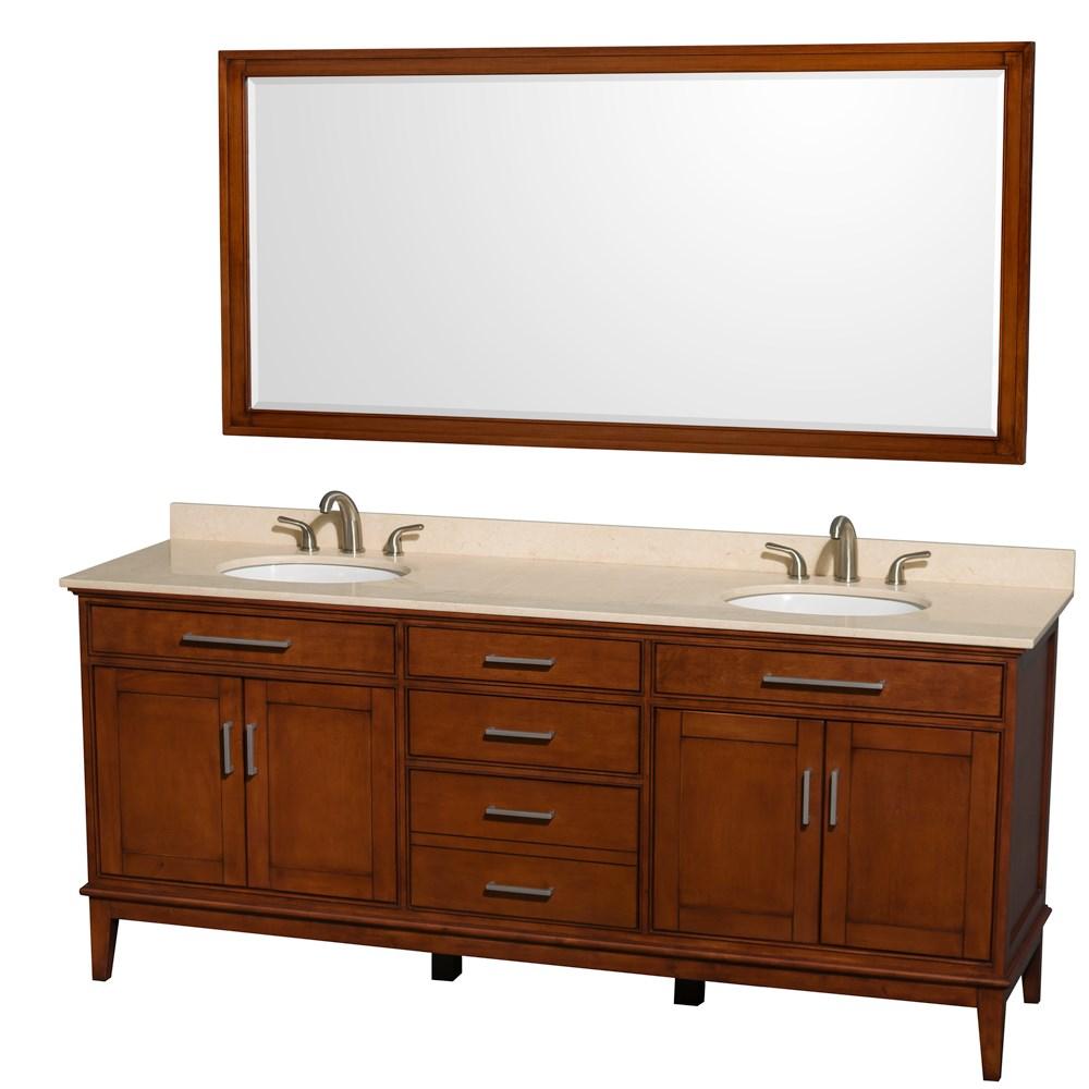 """Hatton 80"""" Double Bathroom Vanity by Wyndham Collection - Light Chestnutnohtin Sale $1399.00 SKU: WC-1616-80-DBL-VAN-CLT :"""