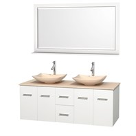 "Centra 60"" Double Bathroom Vanity Set for Vessel Sinks by Wyndham Collection - White WC-WHE009-60-DBL-VAN-WHT"