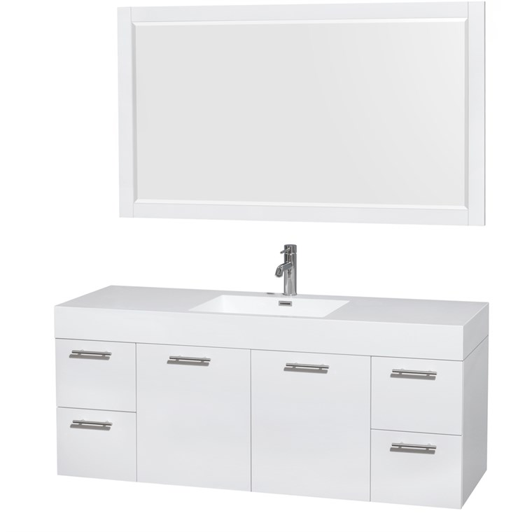 "Amare 60"" Wall-Mounted Single Bathroom Vanity Set with Integrated Sink by Wyndham Collection - Glossy White WC-R4100-60-VAN-WHT-"