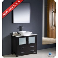 "Fresca Torino 36"" Espresso Modern Bathroom Vanity with Vessel Sink and Mirror FVN6236ES-VSL"