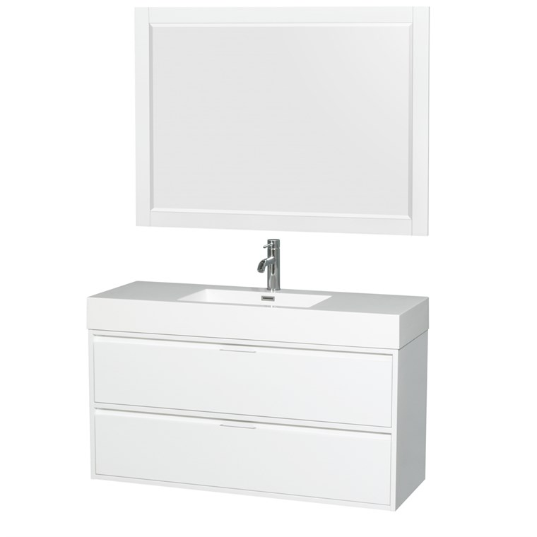 "Daniella 48"" Wall-Mounted Bathroom Vanity Set With Integrated Sink by Wyndham Collection - Glossy White WC-R4600-48-VAN-WHT"