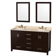 "Sheffield 60"" Double Bathroom Vanity by Wyndham Collection - Espresso WC-1414-60-DBL-VAN-ESP"