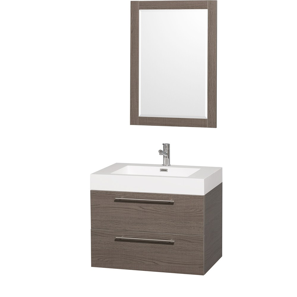 "Amare 30"" Single Bathroom Vanity in Gray Oak, Acrylic Resin Countertop, Integrated Sink, and 24"" Mirror WCR410030GOAR"