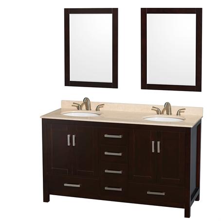"Paris 60-Inch Espresso Double-Sink Bathroom Vanity With Mirrors sheffield 60"" double bathroom vanitywyndham collection"