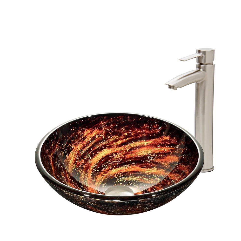 VIGO Northern Lights Glass Vessel Sink and Shadow Faucet Set in Brushed Nickel Finishnohtin Sale $255.90 SKU: VGT415 :