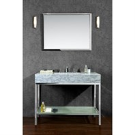 "Seacliff by Ariel Brightwater 48"" Single Sink Vanity Set with Carrera White Marble Countertop - Stainless Steel SC-BRI-48-PSS"