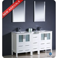 "Fresca Torino 60"" White Modern Double Sink Bathroom Vanity with Side Cabinet, Integrated Sinks, and Mirrors FVN62-241224WH-UNS"