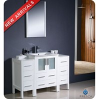 "Fresca Torino 48"" White Modern Bathroom Vanity with 2 Side Cabinets, Integrated Sink, and Mirror FVN62-122412WH-UNS"