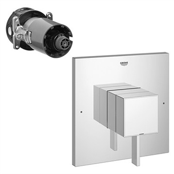 Grohe Eurocube Square Single Function Pressure Balance Trim with Control Module, Starlight Chrome GRO 19924000 by GROHE