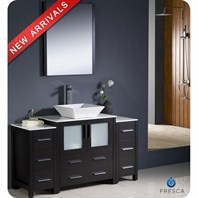 "Fresca Torino 54"" Espresso Modern Bathroom Vanity with 2 Side Cabinets, Vessel Sink, and Mirror FVN62-123012ES-VSL"