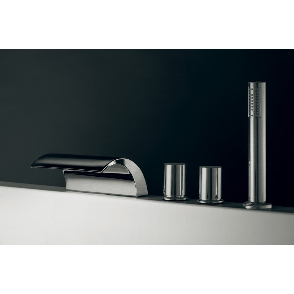 Aquatica Italia Waterfall 4-Hole Deck Mounted Tub Filler - Brushed Nickelnohtin Sale $1299.00 SKU: Italia-Waterfall-BN :