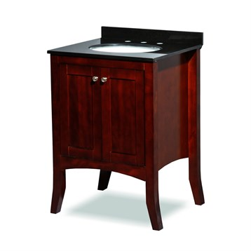 "Belmont decor Charleston 24"" Single Sink Vanity Set with Black Granite Countertop, Cherry ST6-24-CHRY by Ariel"