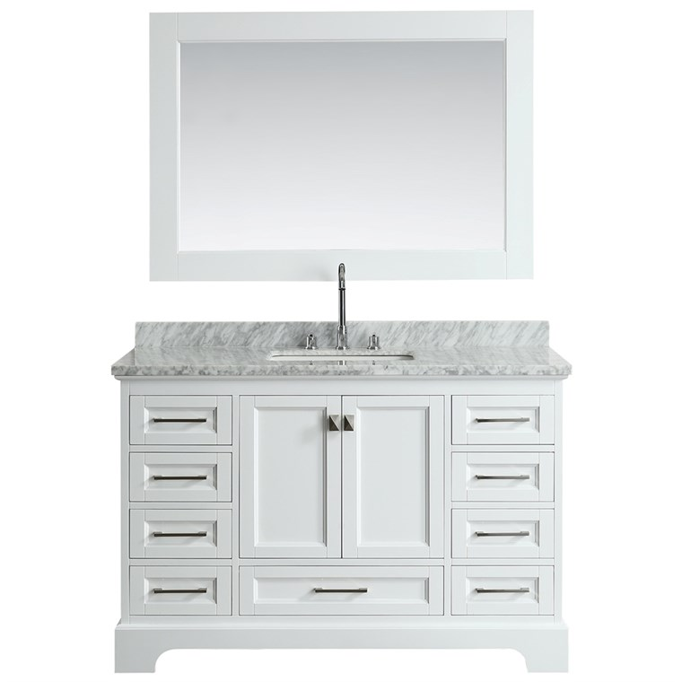 "Design Element Omega 54"" Single Sink Vanity - White DEC068D-W"