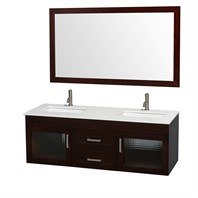 "Manola 60"" Double Wall-Mounted Bathroom Vanity Set by Wyndham Collection - Espresso WC-B051-60-ESP"