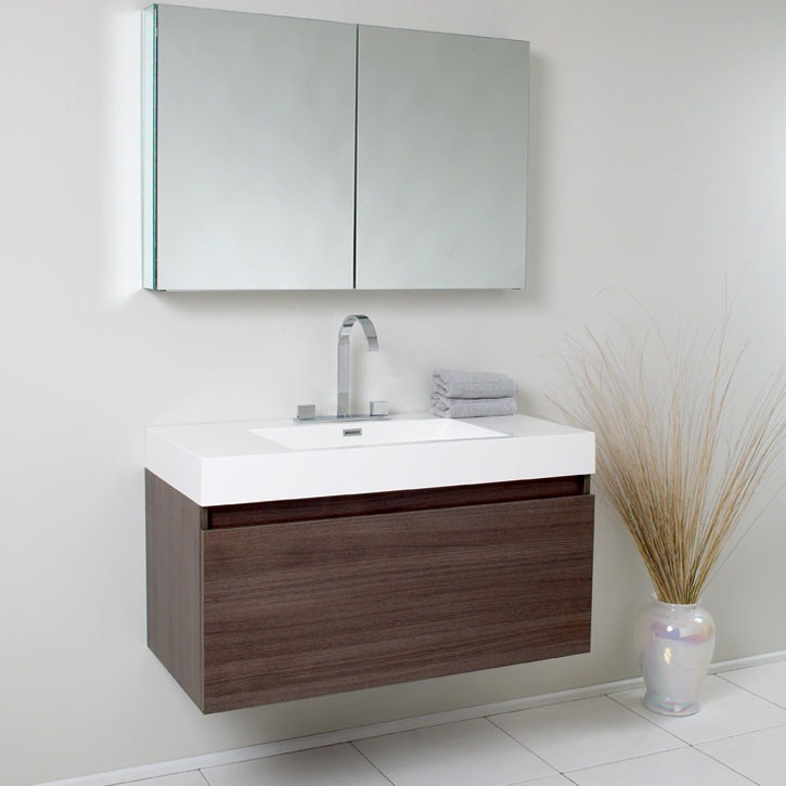 Fresca Mezzo Gray Oak Modern Bathroom Vanity with Medicine Cabinet