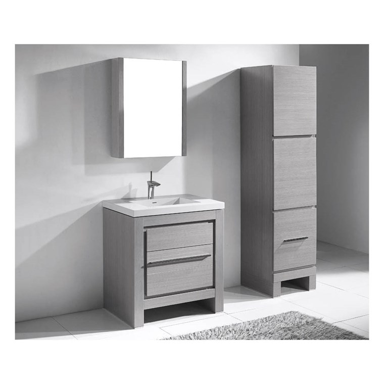 "Madeli Vicenza 30"" Bathroom Vanity For X-Stone - Ash Grey B999-30-001-AG-XSTONE"