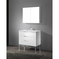 "Madeli Milano 36"" Bathroom Vanity with Quartzstone Top - Glossy White B200-36-002-GW-QUARTZ"